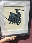Spanish  civil war republican soldiers on attack, lithography. Signed
