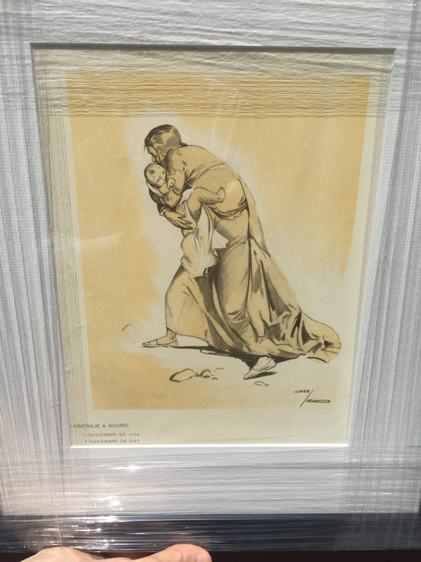 Spanish civil war lithograph civilian suffering. Signed.