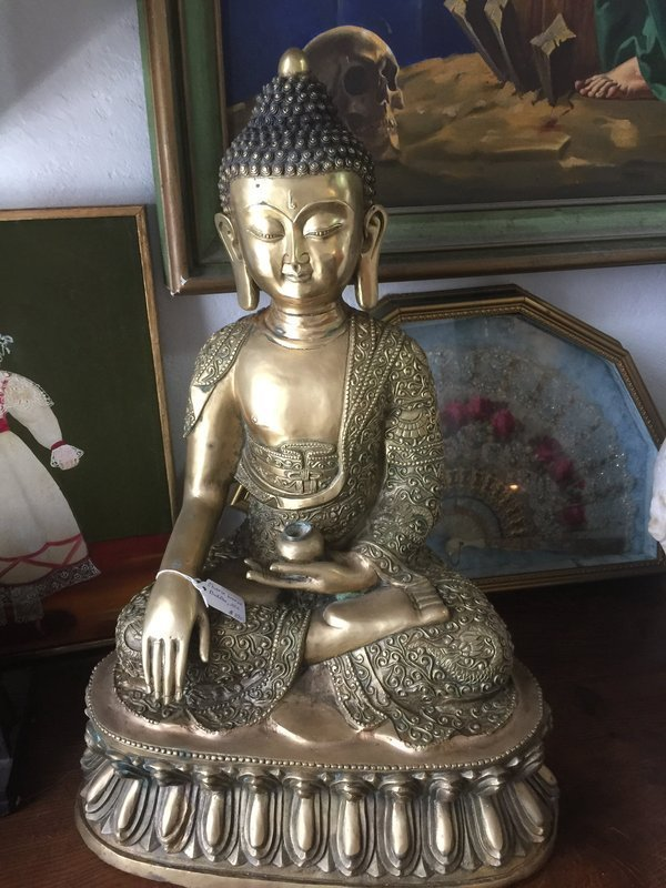 Large  Ornate Chinese Bronze Buddha  22 inches High