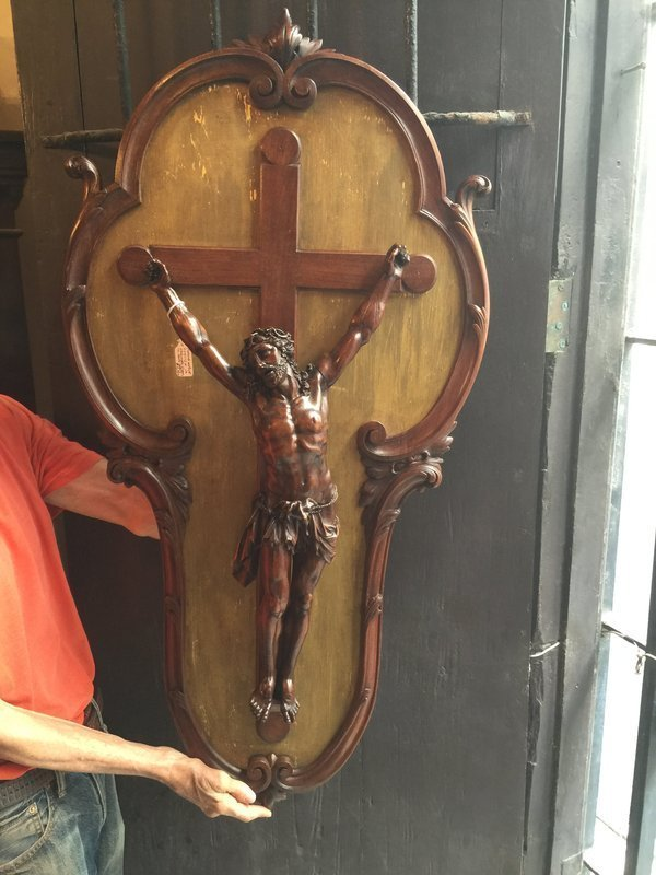 19thc Magnificent French Carved Walnut Wall Crucifix 1870s