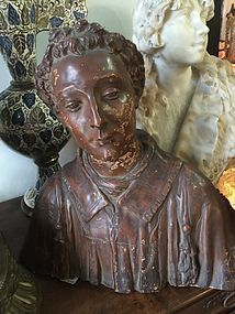 Handsome Early 19thc Terracotta Bust of Medieval Scholar Italian