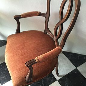 Pr Antique Italian Walnut Armchairs