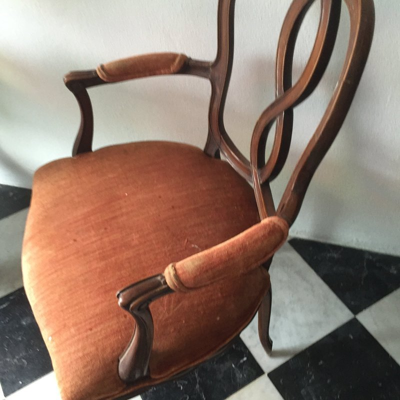 Pr Antique Italian Walnut Armchairs