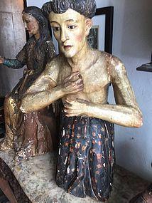 Latin American 18thc  Lge Santo of Animas-Soul in Purgatory