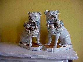Pr German Porcelain Pugs-ca 1900