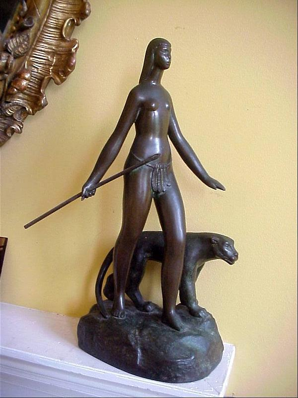 Bronze Lady and Panther-Signed-1920s-Art Deco