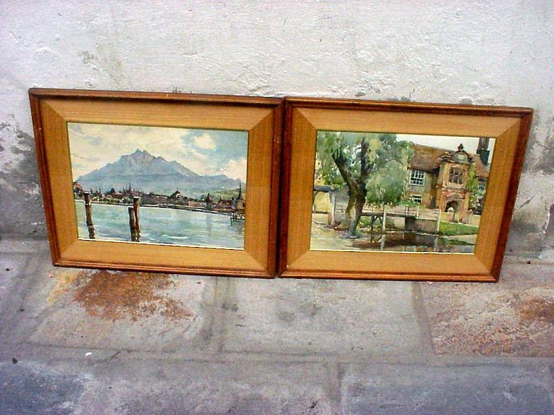 Pr Very Fine European Watercolors-signed