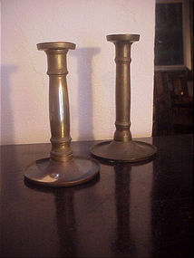 Two Austrian Biedemeier Brass Candlesticks