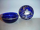 Glass dresser box, cobalt blue