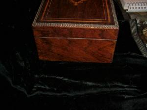 Box, inlaid rosewood ca 1900