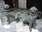 Oriental Bronze 17th Century Fou dogs (Pair)