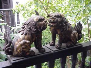 Carved Wood Japanese Shishi dogs, rare pair.19thc