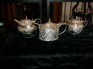 Silver Mustard Pot, three