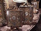 (pair) 18thc Italian paintings on vellum
