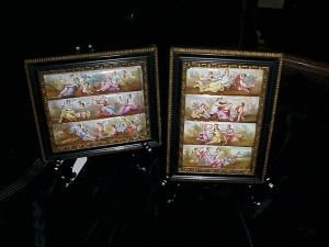 Framed Austrian enameled panels 150yrs