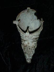 Antique Benin bronze bird waterer