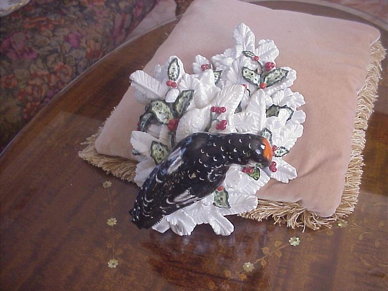Dresden Porcelain Wall Pocket with Bird 1900