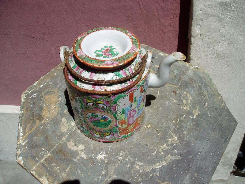 Chinese Rose Medallion Teapot  and Basket 1880s