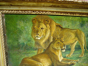 Lion and his Mate  Oil Painting  ca 1900