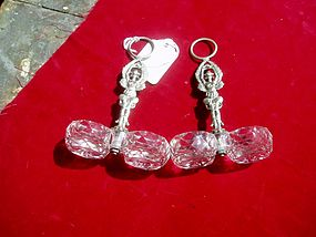 Pr French Silver Salts Cut -Glass liners Figural