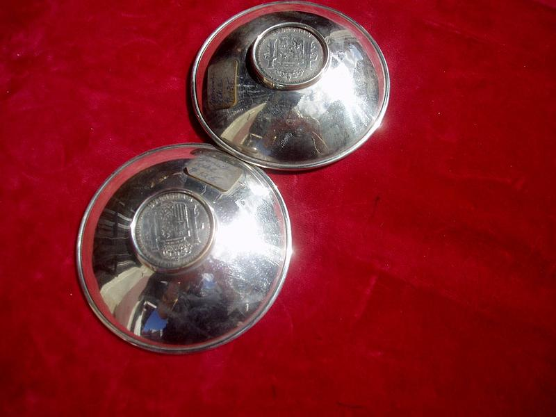 Pr Spanish Coin Silve Nut Dishes