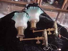 Pair Gas light Sconces 1890 converted
