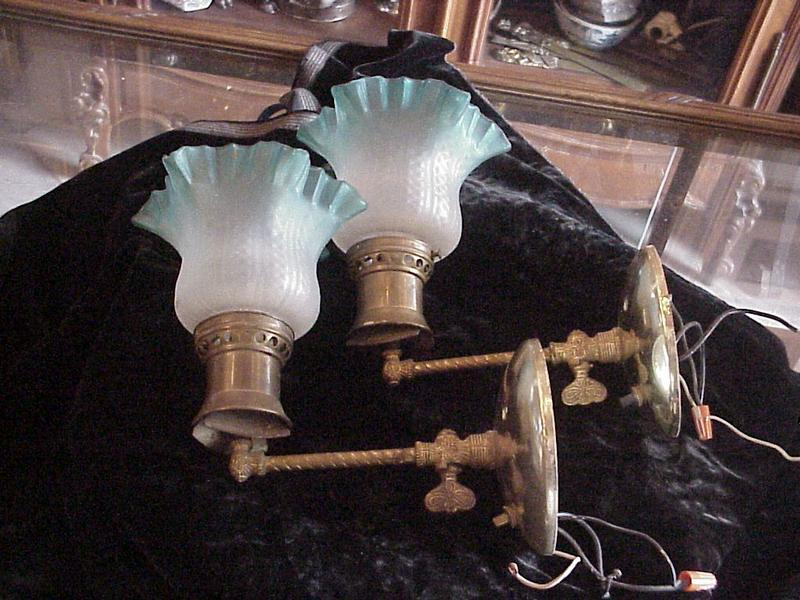 Pair Gas light Sconces 1890 converted