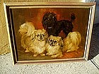 Dog Painting Two Pekingese & Poodle Sgnd 1968