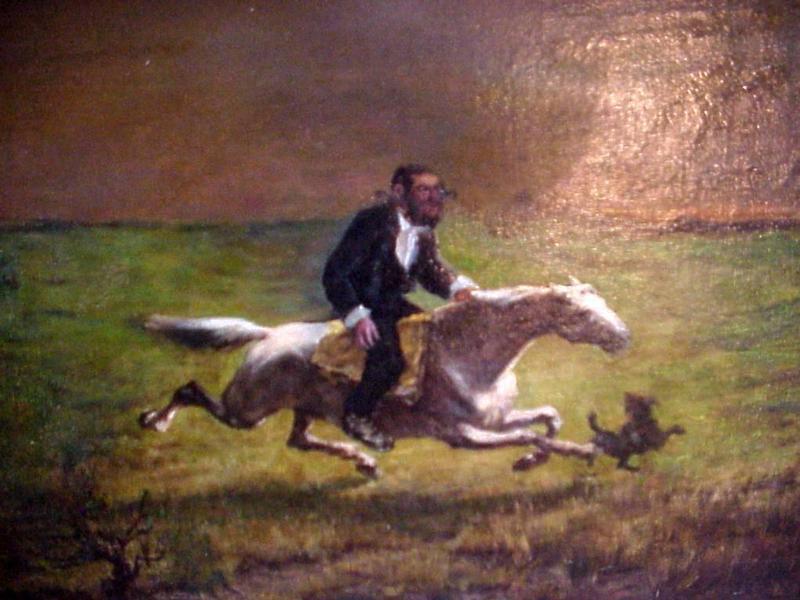 Painting O/C 19c  Hassidic Jew at Full Gallop