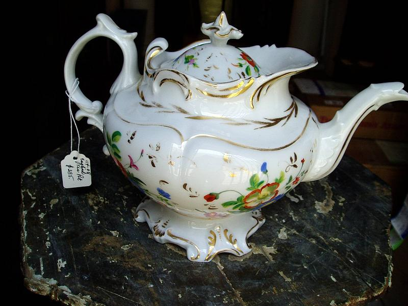 19thc Hand Painted English Porcelain Tea Pot