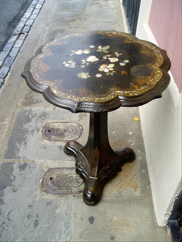 English Papier Mache Tilt-Top Table Inlaid MOP 1880s