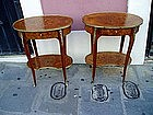 Pr French Inlaid Louis XVth style Side Tables ca1920s