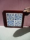 4 Mounted Spanish Andalusian 17thc Tiles Blue/White