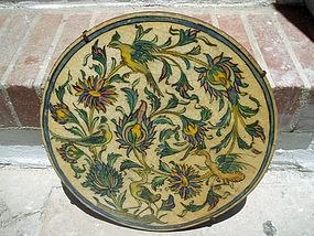Large Persian Qajar Round Tile ca 1800