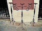 Three Tall Iron Floor Candlesticks Spanish 1920s