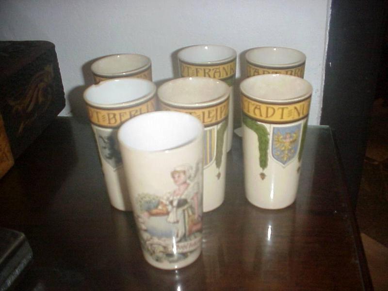 7 Mettlach Ceramic Mugs--Belle Epoch ca 1900s