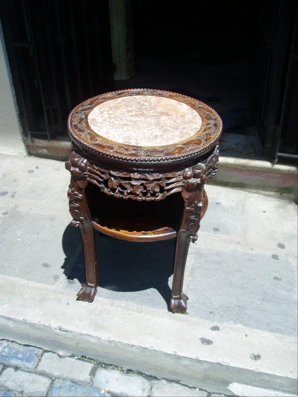 Chinese 19thc Hardwood Taboret Table Marble Insert