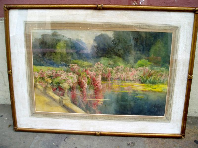 Lge English Watercolor ca 1930s Garden Pool