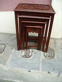Four Carved Japanese Nesting Tables ca 1930