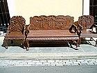 3 piece Japanese Carved Hardwood Salon Set 1920s