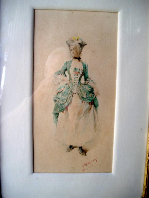 Italian 19thc Watercolor Grand  Dame Signed