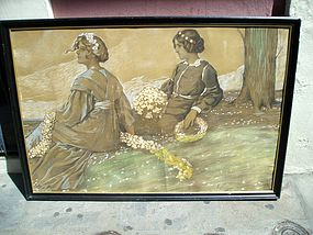 Lge German 19thc Drawing of  Two Damsels In May