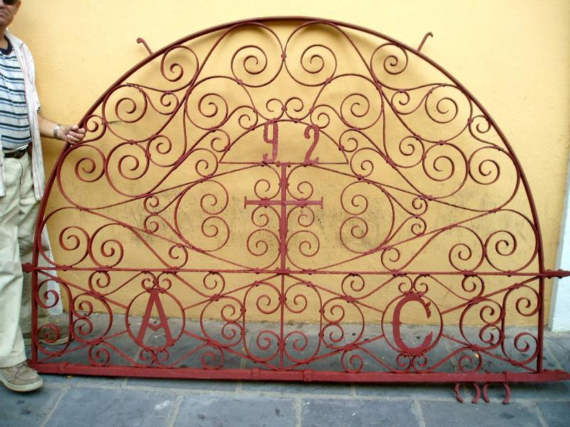 Magnificent Puerto Rican Wrought Iron Demi Lune 19thc