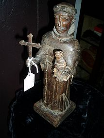 Spanish Colonial Santo St Anthony with Infant 19thc