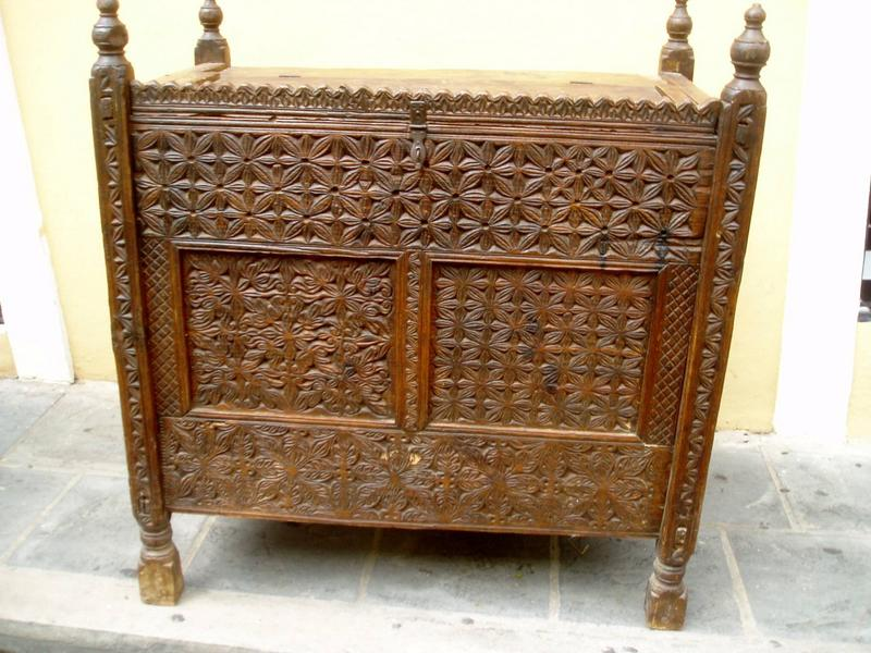 Lge Islamic Carved Wood  Storage Chest Pakistan  18thc
