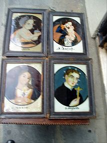 4 Reverse Glass  Paintings 18thc German  Saints