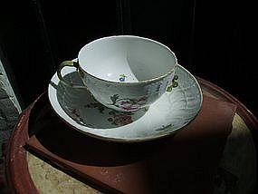 18thc Meissen Cup & Saucer Porcelain