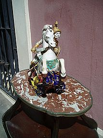 Italian Pattarino Ceramic Knight on Horse Sgnd