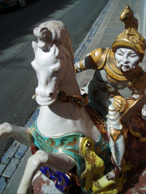 Italian Pattarino Ceramic Knight on Horse Sgnd