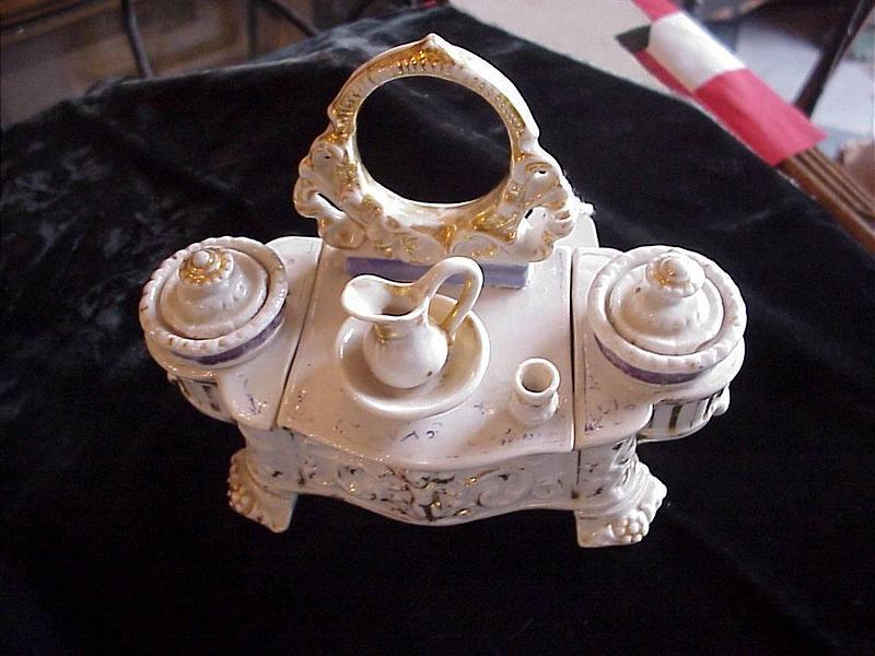 Elaborate French Old Paris Inkwell--1860s